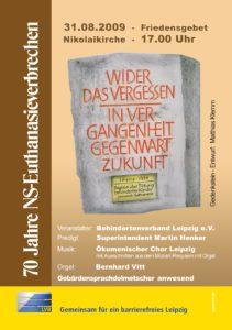 Plakat Friedensgebet 70 Jahre Euthanasieverbrechen. 31.08.09